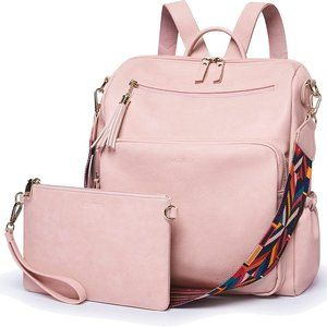 NEW Ecosu Leather Rucksack with Purse, Pink